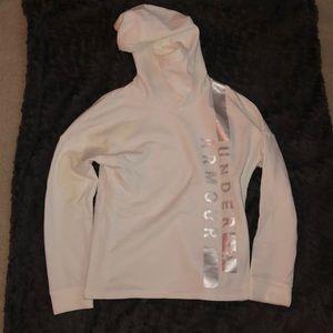 UNDER ARMOUR White & Silver Fleece Pullover XS